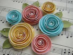 Spiral Rose Flower Embellishments