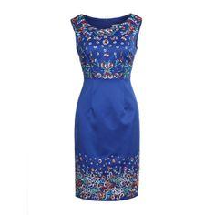Fashion Embroidery Flower Elegant Retro Sleeveless Dress Blue