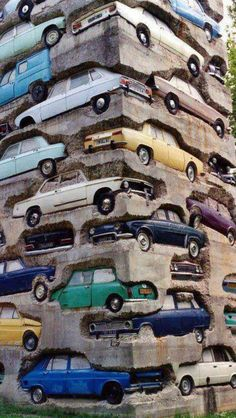 Praha - wall installation Wow this is amazing! All those retro cars to admire. My grandparents owned a couple of these!