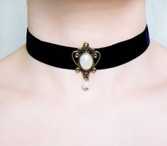 black lace choker - velvet pearl necklace ribbon choker - bronze charm retro vintage - gothic choker  Victorian gift for her by LaceFancy on Etsy