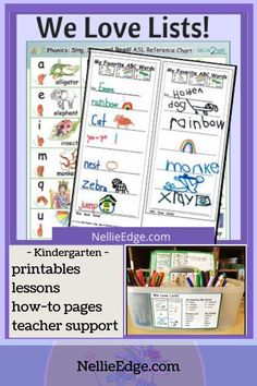 Give students real-world lessons to write down their own lists & watch their literacy grow! Nellie Edge TPT printables for FAVORITE animals, colors, friends, costumes & more. Intro from $4. Increase vocabulary; boost ABC, phonics & handwriting skills; organize supplies for volunteers & classroom helpers. Differentiated for ALL learners! Great for PreK-1. #writing #lessons #activities #NellieEdge #kindergarten #preschool #letters #sounds #homeschool #specialed #1stgrade #newteacher Writing Folders, Writing Lists, Writing Words, Writing Workshop, Kids Writing, Opinion Writing, Kindergarten Handwriting, Kindergarten Writing, Kindergarten Teachers