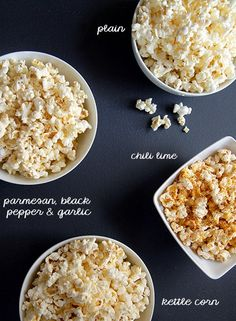 Remember the microwave popcorn craze? You'd throw a bag in the microwave, making sure you had the RIGHT SIDE UP, you'd listen to it pop, then you'd take it out and this huge clou… Flavored Popcorn, Popcorn Recipes, Homemade Popcorn, Popcorn Snacks, Popcorn Kernels, Appetizer Recipes, Snack Recipes, Appetizers, Popcorn Seasoning