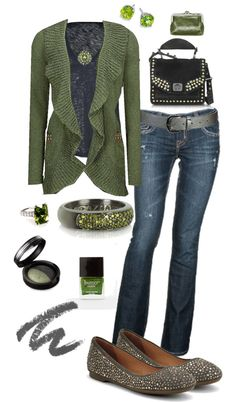 """Olive and Grey"" by crzrdnk77 ❤ liked on Polyvore"
