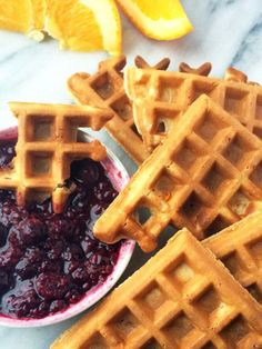 Waffle Dippers with Orange Berry Compote - A fun twist on breakfast, these whole grain waffles are served with an orange-berry compote dipping sauce that takes just minutes to make.