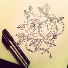 Really want this on my ribs but with camellias instead of a rose and two scrolls too! Defs getting this at the end of summer!