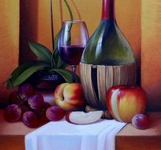 bodegón de frutas y vino - Buscar con Google Fruit Painting, Oil Painting Flowers, Nature Paintings, Watercolor Paintings, Old Pottery, Fruit Art, Color Of Life, Easy Drawings, Art Pictures