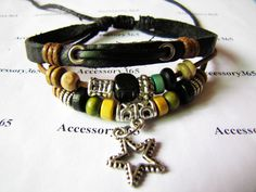 Men or Women Leather Bracelet with Bead Wristband Cuff Bracelet by accessory365, $7.50