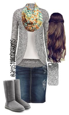 """Apostolic Fashions #824"" by apostolicfashions on Polyvore featuring Current/Elliott, UGG Australia and Topshop"