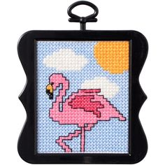"""Beginner Minis Flamingo Counted Cross Stitch Kit-3""""X3"""" 14 Count"""