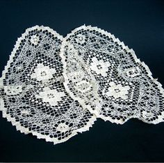 Darned Net Lace Doily Pair Antimacassars Off by AtticDustAntiques