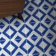 Blue Vigo Tile is part of Bert & May's handmade cement tile collection. Shop our range of quality tiles in plain or patterned styles, created using natural pigments. Blue Kitchen Tiles, Vinyl Flooring Bathroom, Powder Room Tile, Tiles Uk, Cement Tile Floor, Deep Blue Paint, Blue Bathroom Tile, Geometric Tiles, Blue Tiles