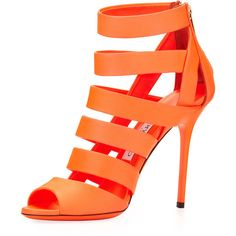 Jimmy Choo Women's Dame Caged Leather Bootie ($696) ❤ liked on Polyvore featuring shoes, heels, sandals, orange, boots, neon shoes, leather strap shoes, neon orange shoes, orange shoes and orange high heel shoes