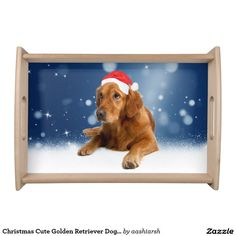 #Christmas Cute #GoldenRetriever #Dog #Santa Hat #Snow Serving #Tray
