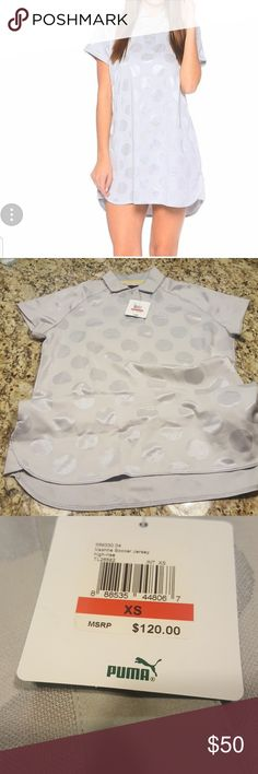 WOMENS PUMA VASHTIE JERSEY DRESS #569330-04 Hey ladies here we have a jersey dress that is a silver color dress features 54% polyester 46%cotton very cute and fashionable price is negotiable 😊 Puma Dresses
