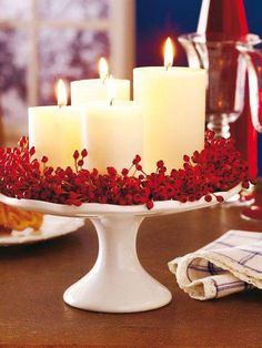 Cool idea for your Christmas planners folks - Candles on a cake stand - such an easy holiday centerpiece!