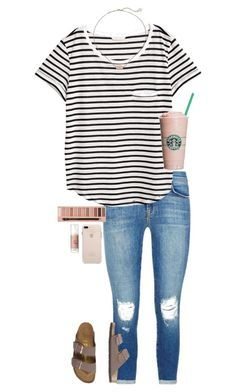 """""""bookstore day"""" by gabyleoni ❤ liked on Polyvore featuring Benefit, J Brand, H&M, Kendra Scott, Birkenstock and L.A. Girl"""