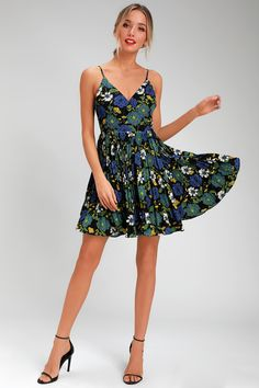 bceb8936403af A dress as dreamy as the Lost + Wander Pisces Black Multi Floral Print  Pleated Wrap