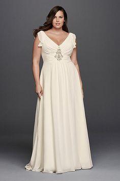 Fancy Plus Size Flutter Cap Sleeve Beaded Wedding Dress
