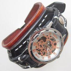 Mens steampunk leather watch, Black leather cuff watch, Bracelet watch, Handmade watch, Skeleton watch