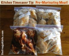 Pre-marinating meat in plastic bags, and throwing in the freezer...  Then grab 'em on your next camping trip! #camping #outdoors #cooking