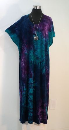 75761fb4312 Plus size 3X blue/purple tie dye sleep dress lounger nightgown in bamboo /cotton/spandex fabric