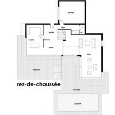 plan maison moderne toit plat rdc