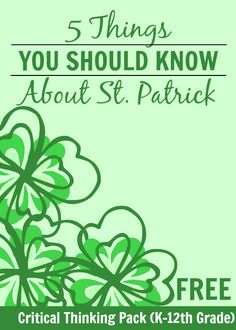 5 Things You Should Know About St. Patrick - with an AWESOME critical thinking pack you can use with your kids grade! Spring Word Search, Sant Patrick, St Patricks Day Quotes, Spring Words, Paddys Day, St Pattys, Critical Thinking, Free Printables, 5 Things