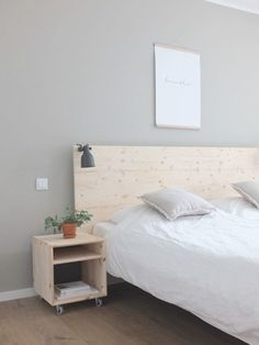 ikea malm bed w plywood DIY headboard