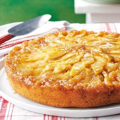 Gingered Apple Upside-Down Cake Recipe -I like that this gingerbread delight is so deeply flavored and delicious. Served warm from the oven, a nice scoop of vanilla bean ice cream is definitely the icing on this cake. —Raymonde Bourgeois, Swastika, Ontario