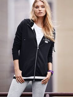 Stripe-trim Zip Hoodie Fleece
