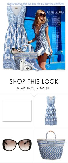 """""""Azure seas and lovely towns."""" by breathing-style ❤ liked on Polyvore featuring EAST, Gucci, Lucky Brand, Polaroid and NIKE"""