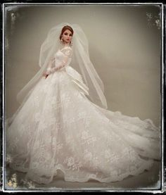 "Princess Wedding Bridal Gown & Veil for Silkstone & Fashion Royalty~12"" Dolls"