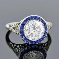 Edwardian Diamond Sapphire Engagement Ring 2.06ct