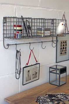 Distressed Metal Wall Storage with Hooks - Grey