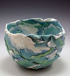 Clay formed over balloon, balloon clay, using a balloon as a mold, balloons with clay, balloon art, sunrise bowl, colored porcelain artwork, coloured porcelain, colored porcelain, Mason Stains in porcelain, Mason Stains in clay,