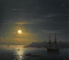 View of Constantinople in Moonlight, Ivan Konstantinovich Aivazovsky