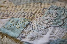 embroidery, slow cloth - lovely colours -- ivory blush roses blog - great blog