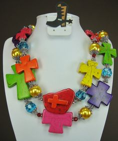 MULTICOLOR / RAINBOW COLORS Cross Howlite by CayaCowgirlCreations, $53.50