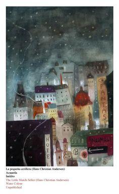 toelle:The Little Match-Seller illustration by José Sanabria Creation Art, Art Sculpture, Children's Book Illustration, Art Design, Vincent Van Gogh, Bunt, Painting & Drawing, Folk Art, Concept Art