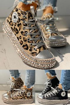 Women's Leopard Rivets with Low/High Top Sneakers heels wedges outfit Women's Leopard Rivets with Low/High Top Sneakers Sneakers Fashion Outfits, Mode Outfits, Fashion Shoes, Female Outfits, Sneaker Outfits, School Outfits, Casual Outfits, Moda Sneakers, High Top Sneakers