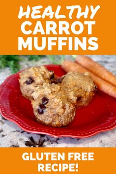 These healthy carrot muffins are great for a healthy breakfast recipe or healthy snack idea. This is a gluten free carrot muffin with chocolate chips. Enjoy these healthy muffins today!