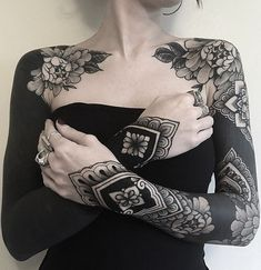 These eye-catching solid black tattoos will make you go all-in . - These eye-catching solid black tattoos will make you go all-in – great blackout tattoo ideas for - Tatuajes Irezumi, Irezumi Tattoos, Leg Tattoos, Sleeve Tattoos, Arabic Tattoos, Dragon Tattoos, Black Sleeve Tattoo, Solid Black Tattoo, All Black Tattoos