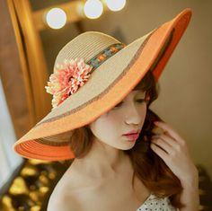 Flower wide brim straw hat for women striped package sun hats