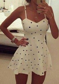 White Polka Dot Ruffle Condole Belt Sleeveless Casual Party Mini Dress