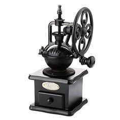 YOOYOO Retro Style Burr Coffee Grinder Hand Grinding Machine Handcrank Roller BLACK *** You can find more details by visiting the image link.