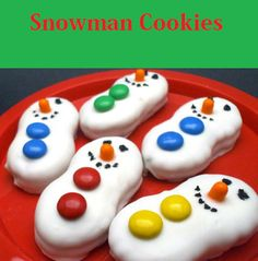 Snowman Cookies Recipes Ingredients:  1 pack Nutter Butter cookies  1 bag Vanilla Almond Bark (details here)  1 bag M   1 Black Decorator Icing (use a black gel pen will make the job much easier, details here)  .