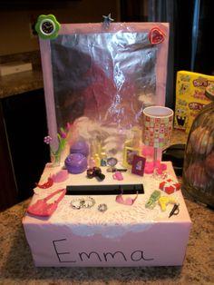 Make up table Vanity Valentines Box Valentine Day Boxes, Valentines Day Party, Valentines Day Decorations, Valentine Crafts, Be My Valentine, Holiday Crafts, Baby Crafts, Cute Crafts, Crafts For Kids