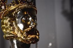 A bust of Charlemagne at the exhibition 'Charlemagne: Power, Art, Treasures' (in German: 'Karl der Grosse: Macht, Kunst, Schaetze') during the press day on June 18, 2014 in Aachen, Germany. The three-part exhibition is among the biggest events this year commemorating the 1200th anniversary of Charlemagne's death. Charlemagne, also called Charles the Great. King Of Italy, Holy Roman Empire, Spiritual Symbols, Suture, Aachen Germany, Death, Anniversary, Events, History