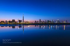 Dubai Skyline Night Reflection by matthewwickens