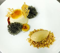 Caramel Pudding, 40 Seconds Microwave Black Sesame Sponge Cake, Caramelized Banana, Salted Caramel Icecream, Cookies Crumble - by JH